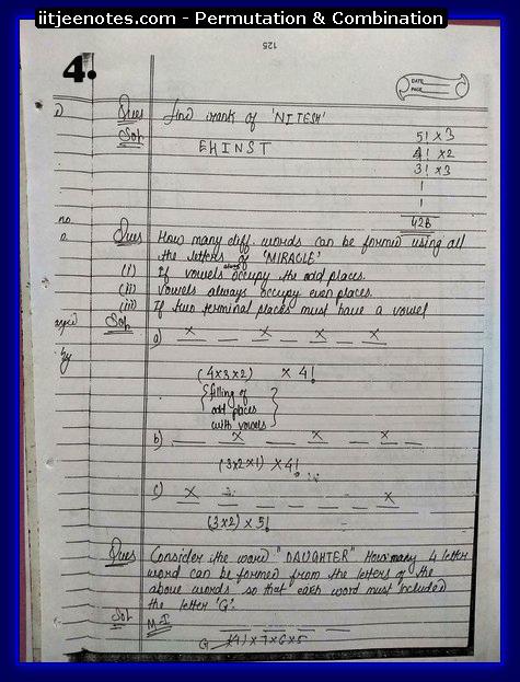 IITJEE Notes on Permutation & Combination4