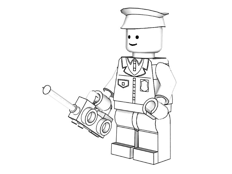 To Colorindo Lego Policial Para Colorir