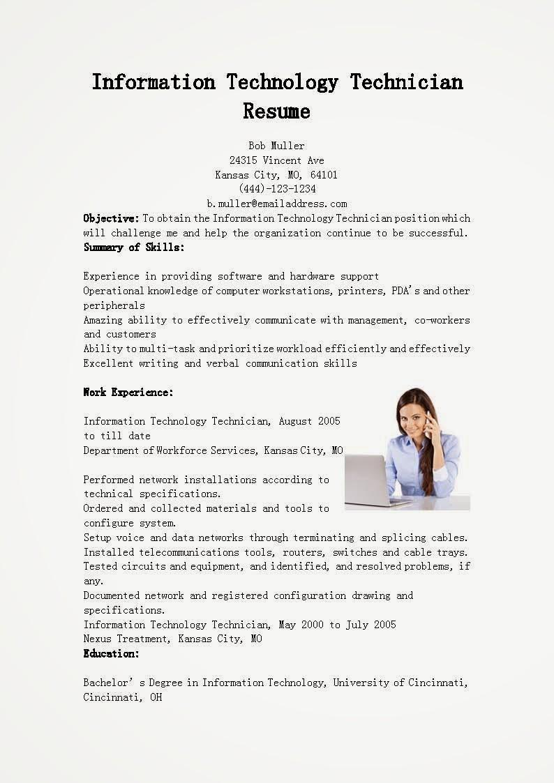 Resume Samples Information Technology Technician Resume Sample