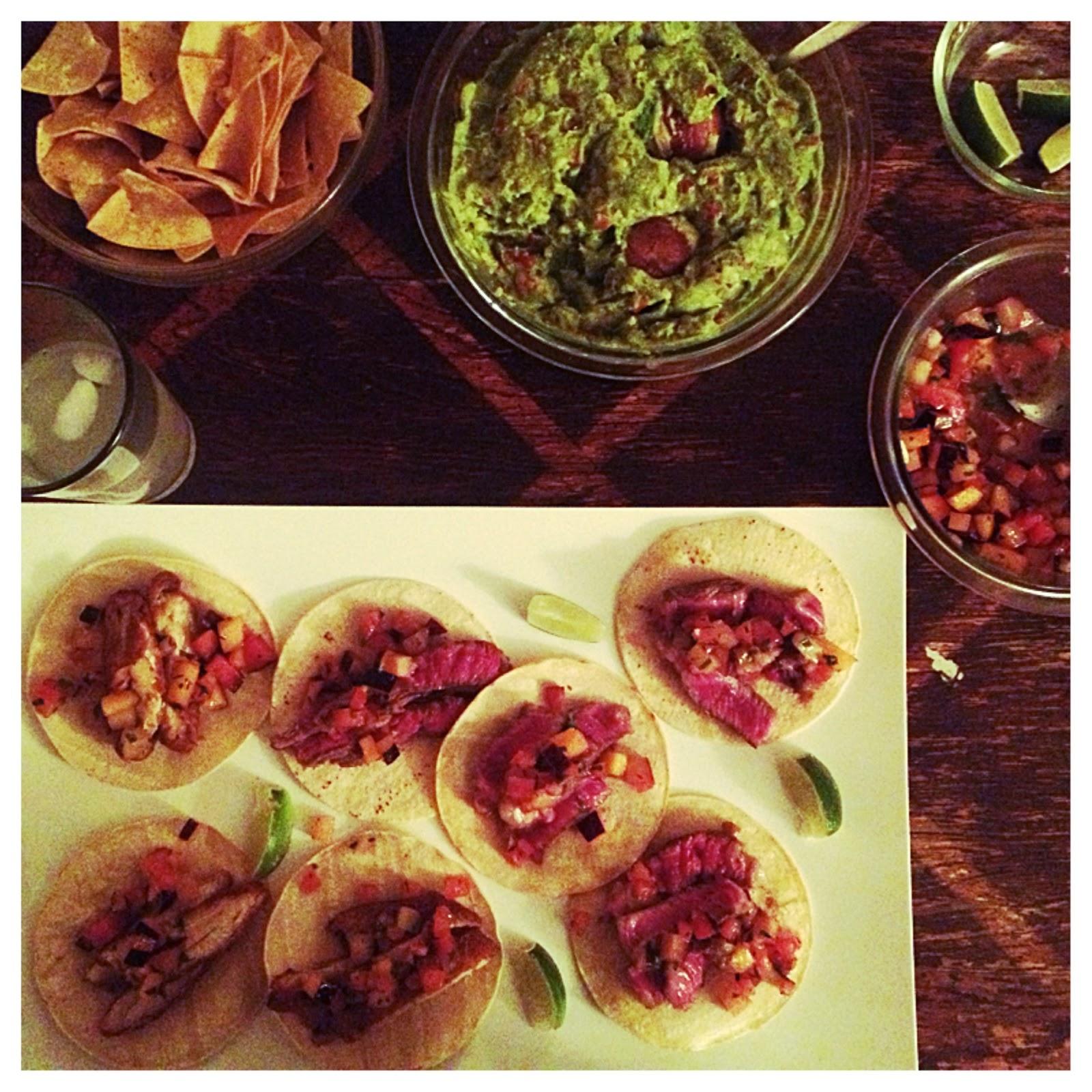 eating fabulously, tacos, fried chicken, rib eye, steak, guacamole, dinner, Christopher Stewart