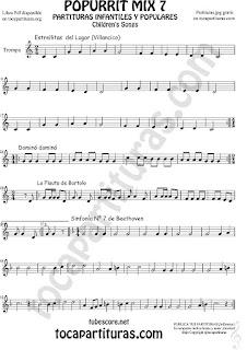 Popurrí Mix 7 Partitura de Trompa y Corno Francés en Mi bemol Campanitas del Lugar Dominó La Flauta de Bartolo Sinfonía Nº 7 Beethoven Popurrí Mix 7 Sheet Music for French Horn Music Scores