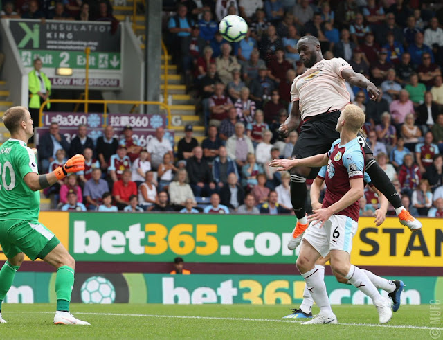 Romelu Lukaku heads in to give Manchester United the lead against Burnley at Turf Moor