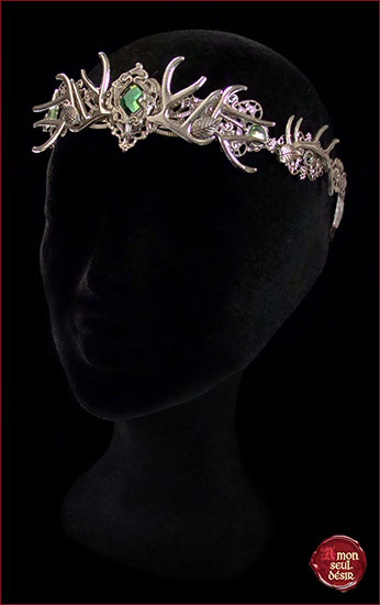 couronne faune bois de cerf argent vert deesse foret Dame Nature wicca pagan deer antlers crown circlet silver green elven woodland fairy wedding wiccan goddess headdress Mother Nature faun nymph forest pixie elf