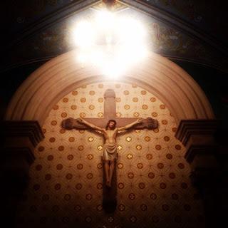 Cristo crucificado que decora la capilla   Hotel Museo Palacio de San Agustín en San Luis Potosí