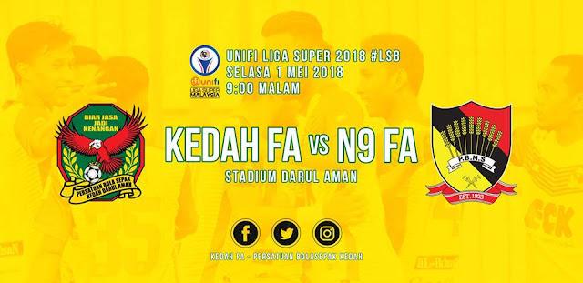 Live Streaming Kedah Vs Negeri Sembilan 1 Mei 2018