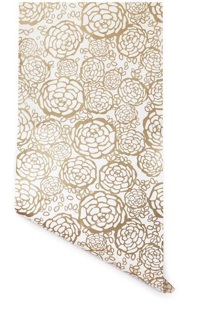 gold wallpaper floral print flower print wall decor