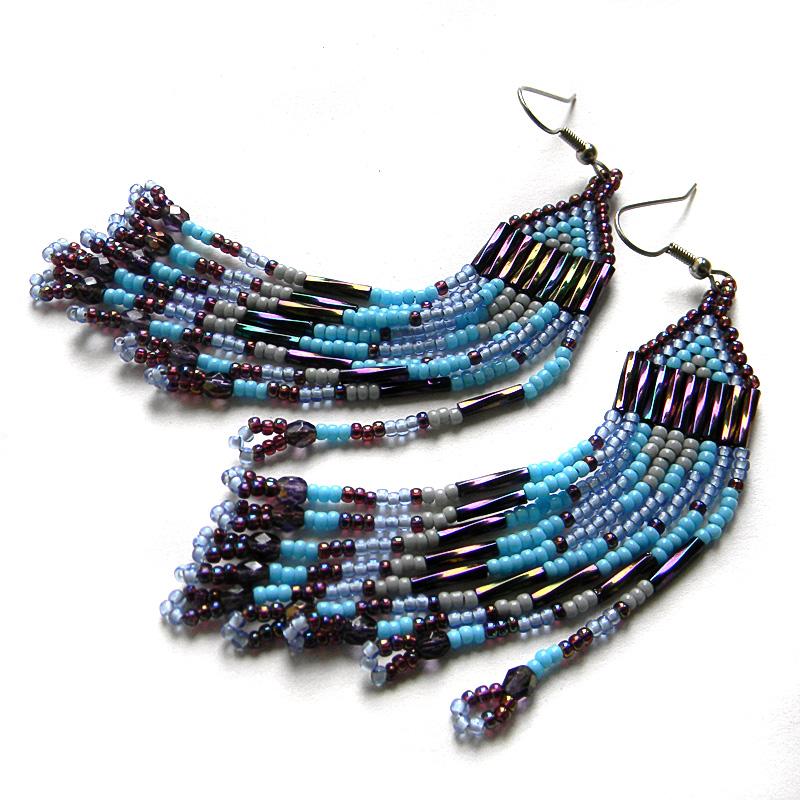 Длинные бисерные серьги - голубые с сиреневым