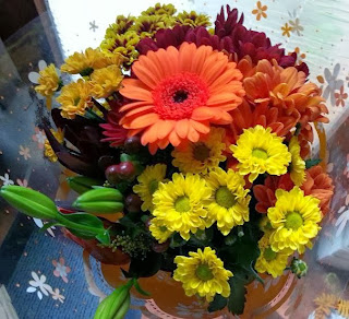 Orange bouquet flowers