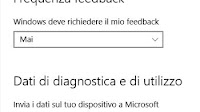 Disattivare raccolta dati di Diagnostica e Feedback in Windows 10
