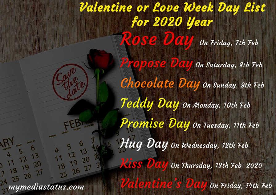 Valentine Week 2020 Day List Rose Day 7th Feb to 14th Feb Valentine's Day