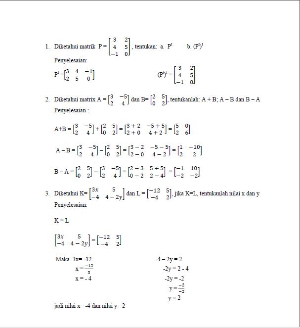 Koleksi Contoh Soal Matriks dan Pembahasannya
