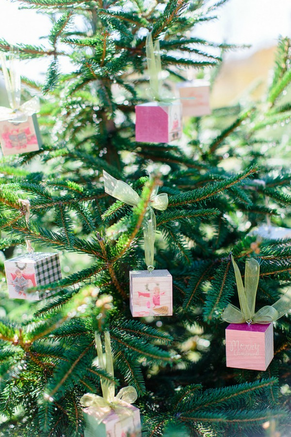 PhotoBoard Cubes hung on the Christmas tree.