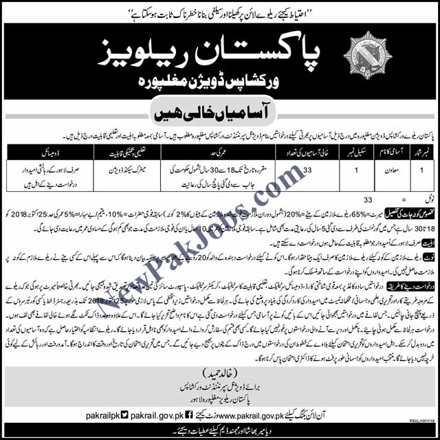 Jobs as Muawan in Pakistan Railways Workshop Lahore Mulghpura Division Oct 2018