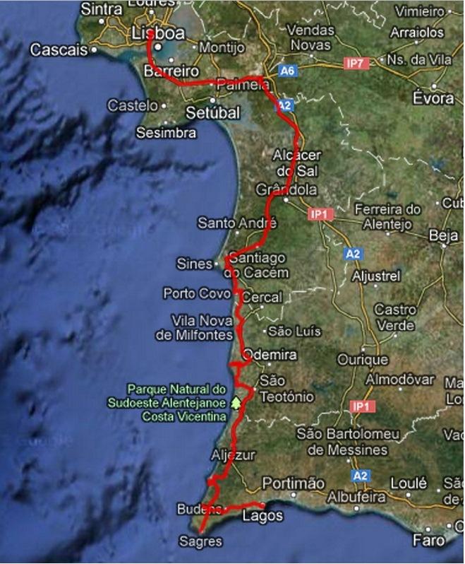 mapa estrada nacional lisboa algarve Viagem pelo litoral Alentejano até ao Algarve mapa estrada nacional lisboa algarve
