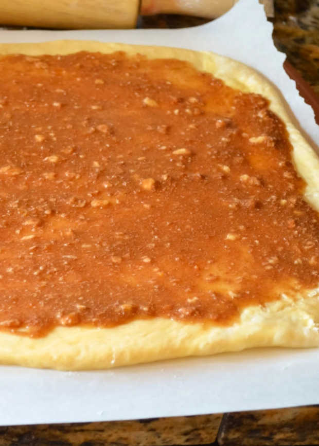 Roll Orange Cinnamon Dough into rectangle.