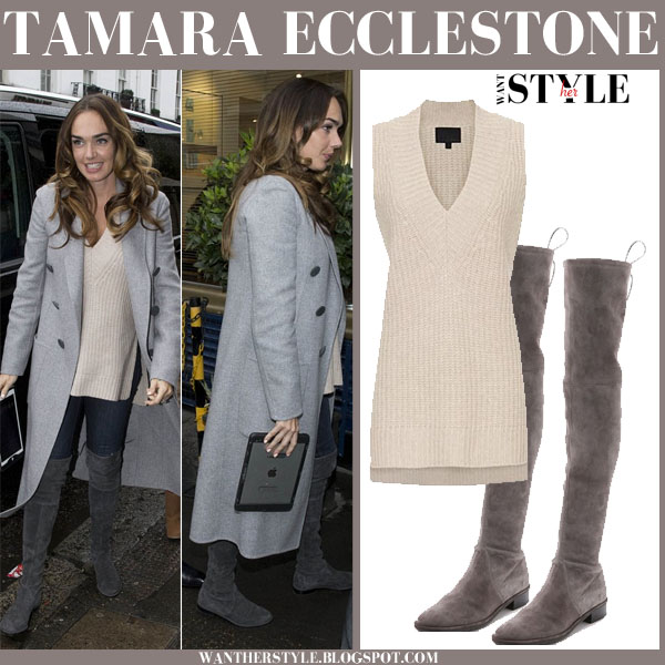 aed256af48e Tamara Ecclestone in grey suede over the knee boots and grey coat .