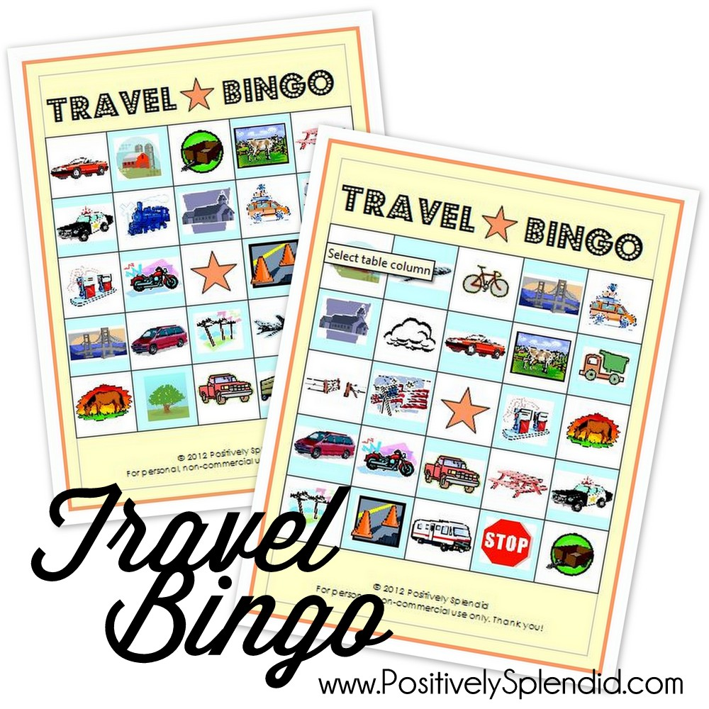 photo regarding Travel Bingo Printable identified as Push Bingo Match (Free of charge Printables!) - Positively Splendid