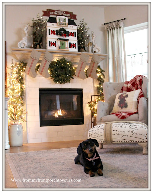 French Country- Farmhouse -Christmas Mantel-Living Room-Christmas Decorations-From My Front Porch To Yours