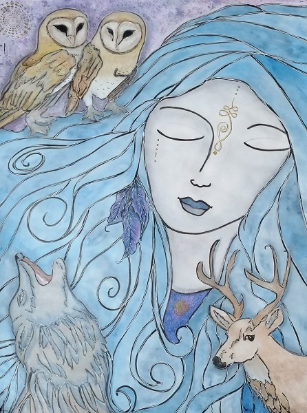 mixed media art by kimberly mcguiness a lady with blue hair and feathers in it, 2 barn owls, deer and a coyote