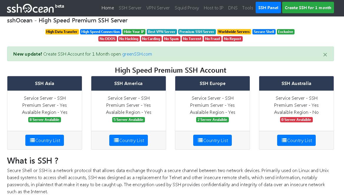 Membuat Akun SSH SSL / TLS Premium di SSHOcean - Kumpulan Remaja