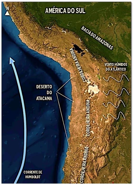 O mapa a seguir e os elementos nele identificados retratam um fato ambiental em uma área do continente sulamericano