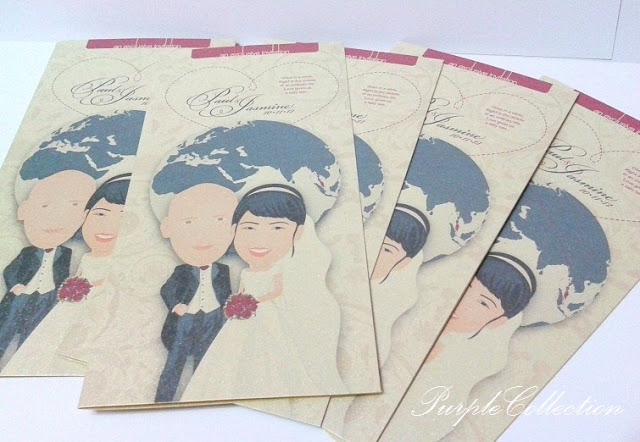 Caricature Wedding Invitation Card, caricture wedding, one fold card, wedding caricature invites, wedding, wedding invitation card