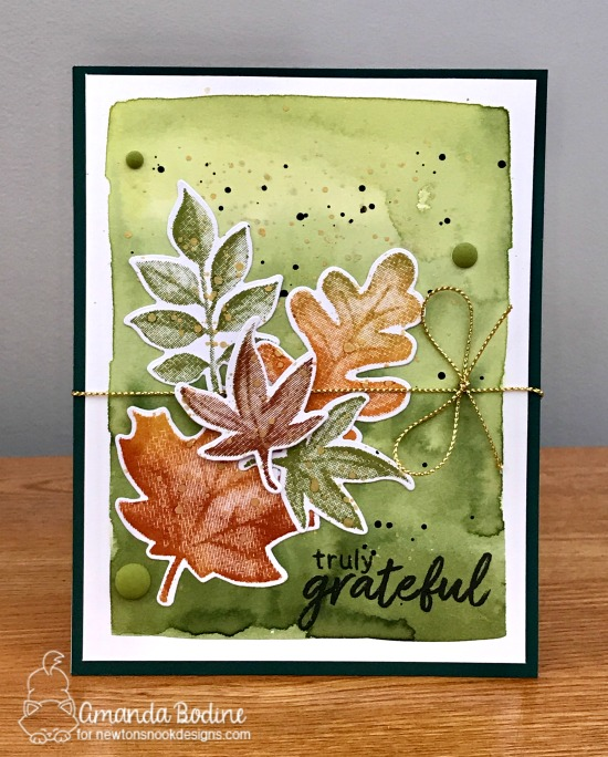 Leaf Watercolor Card by Amanda Bodine | Shades of Autumn Stamp Set by Newton's Nook Designs #newtonsnook #handmade