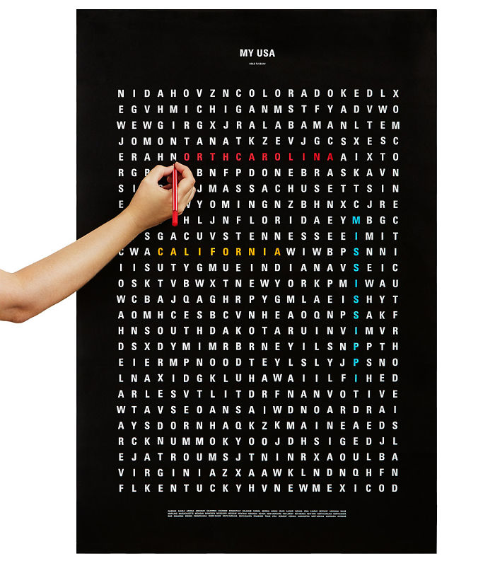 15+ Of The Best Traveler Gift Ideas Besides Actual Plane Tickets - Word Search Poster That Lets You Color The Places In USA That You've Been