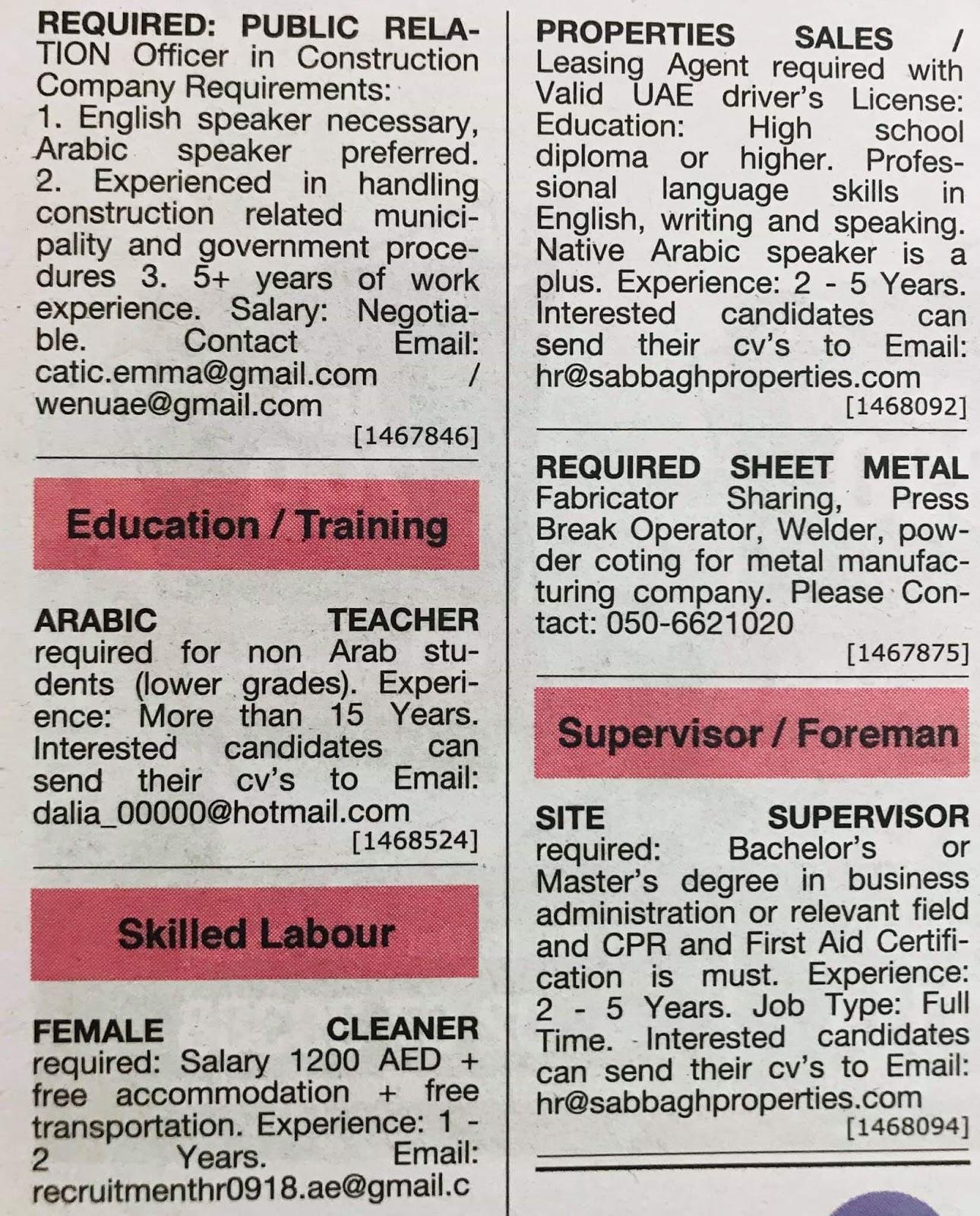 Following Positions Required for Dubai Local Hiring Jobs Khaleej