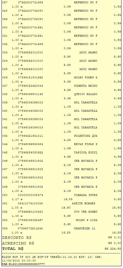 Cupom Fiscal número 68132 do Supermercado Savegnago de Barretos-SP  Loja 15 da av. 43 - Compra de 15/04/2016 - Ovo Mombuca com presença de fezes de galinha - Parte 2 onde consta o item 52 do ovo