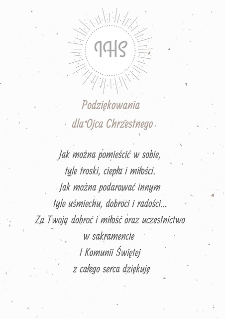 darmowe podziękowania dla rodziców Chrzestnych na Komunię Św.