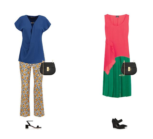 Желтые брюки с синим топом и розовый топ с зеленой юбкой