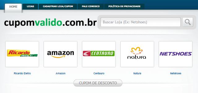 Foto da página inicial do site de cupons de descontos Cupom Válido. Na imagem contem banners das lojas Ricardo, Elétron, Amazon, Centauro e outras.