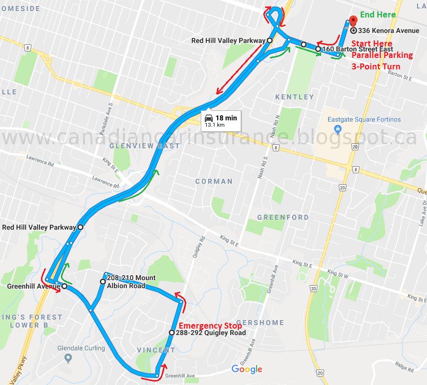 Hamilton G Road Test Route Maps Route 2