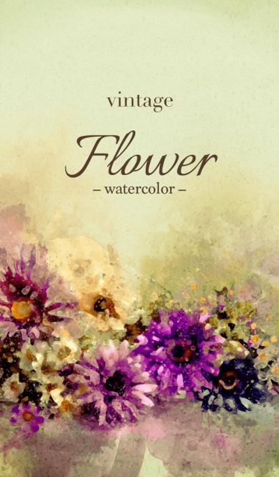 vintage Flower -watercolor-