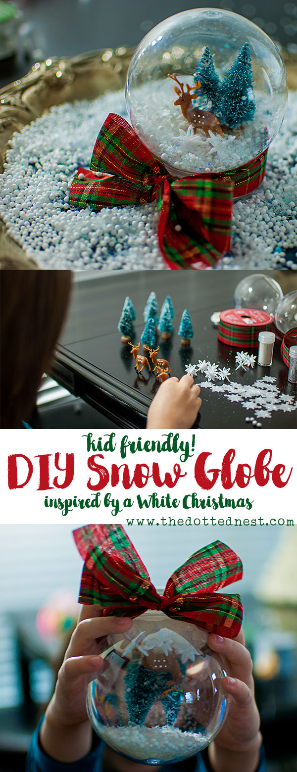 White Christmas Inspired Snow Globe DIY, a Kid Friendly Holiday Craft #ChristmasMoviesHop #SnowGlobeDIY