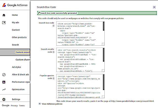 Cara Memasang Kode Adsense For Search pada Blog
