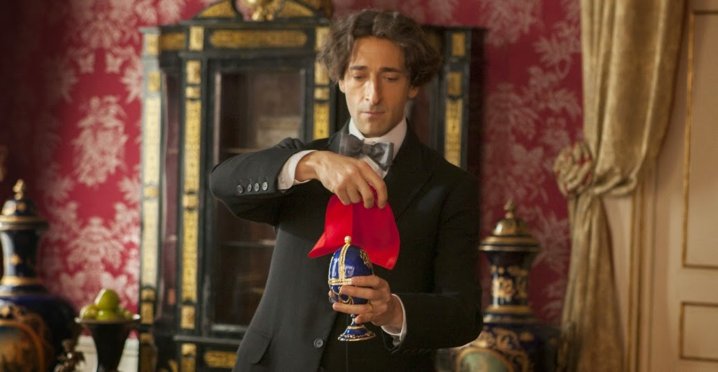 Adrien Brody as Harry Houdini performing a magic trick in History Channel TV Mini-Series