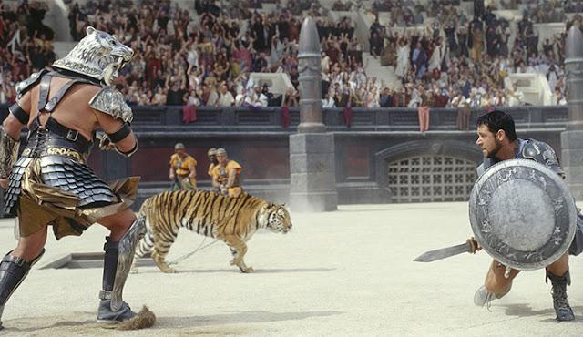 Escena de Gladiator (2000) de Ridley Scott y protagonizada por Russell Crowe