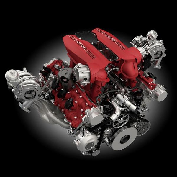 motor 3.9 litros V8 Ferrari