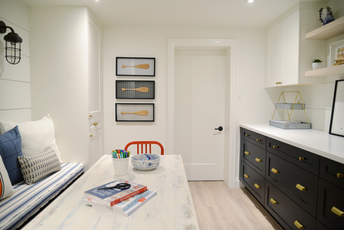 modern coastal craft room | Home Depot Canada cabinetry | Ramblingrenovators.ca | shiplap, nautical decor