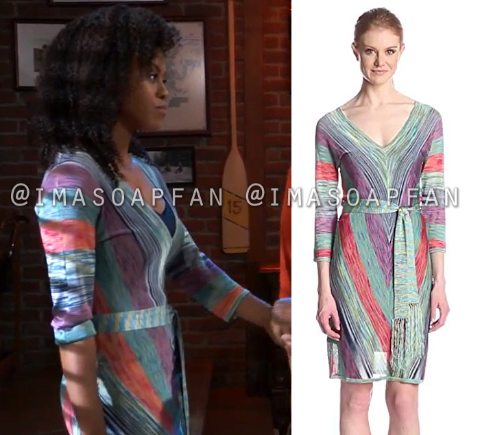 Jordan Ashford, Vinessa Antoine, Multicolored V-Neck Dress, General Hospital, GH