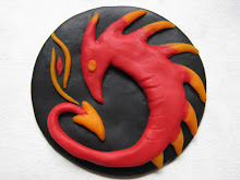 Dragon and the Flame polymer  clay figurine