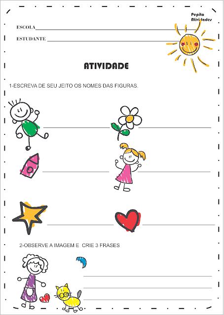 Atividades Auto Ditado e Formação de Frases para turmas e Alfabetização.