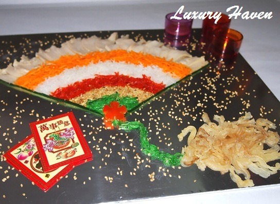 creative cny fan shaped yusheng recipes