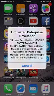 báo lỗi khi chơi game iwin trê iphone