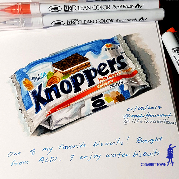 Package design study of a Knoppers!  Done with Zig Clena Brush Pens by Marta Tesoro aka Rabbit Town Art