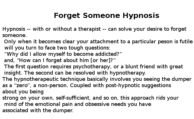 Forget someone hypnosis