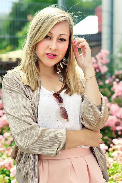 Goldene Bomberjacke Rosa Minrock Trend 2016 Sommerlook Fashionblogger ootd