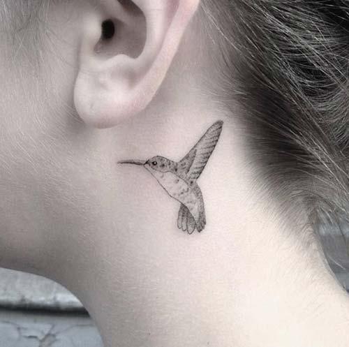kulak arkası kuş dövmesi behind ear bird tattoo